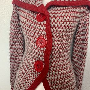 free people red knit sweater w/ large buttons